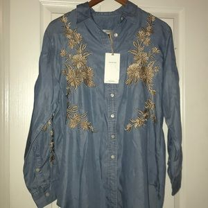 ZARA WOMAN Button up with Embroidery